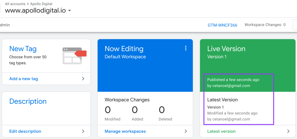 Published and live GTM container