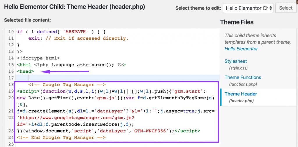 Install Google Tag Manager code snippet in WordPress child theme header file