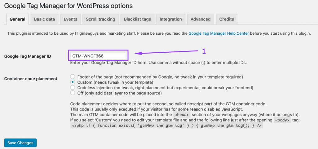 Customizing the Google Tag Manager WordPress plugin - adding the GTM account ID