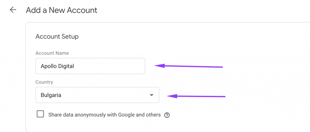 Create new Google Tag Manager account
