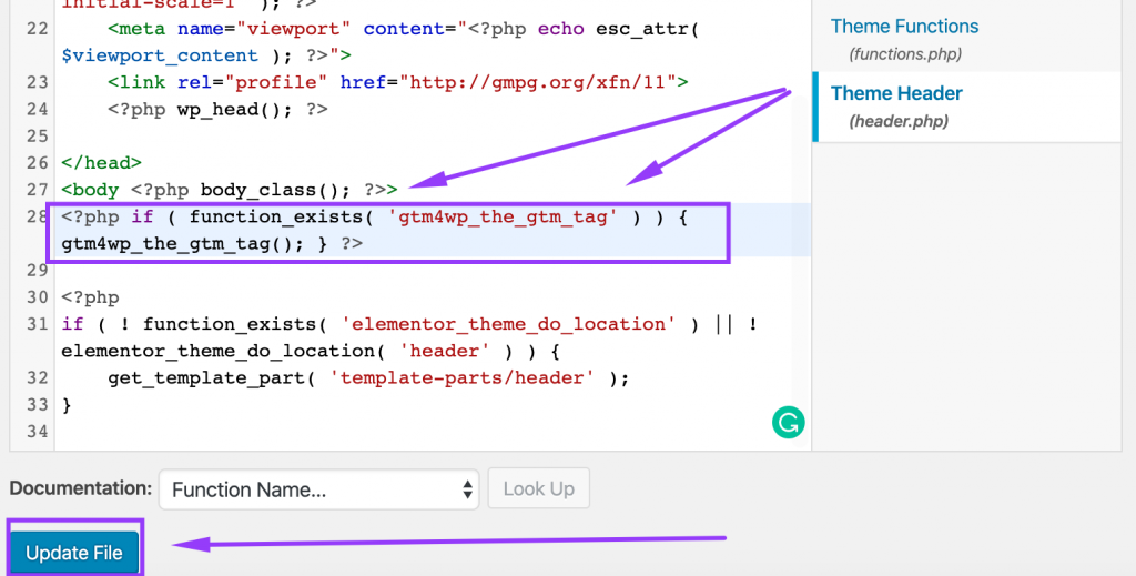 GTM code snippet under tag in WordPress theme header file