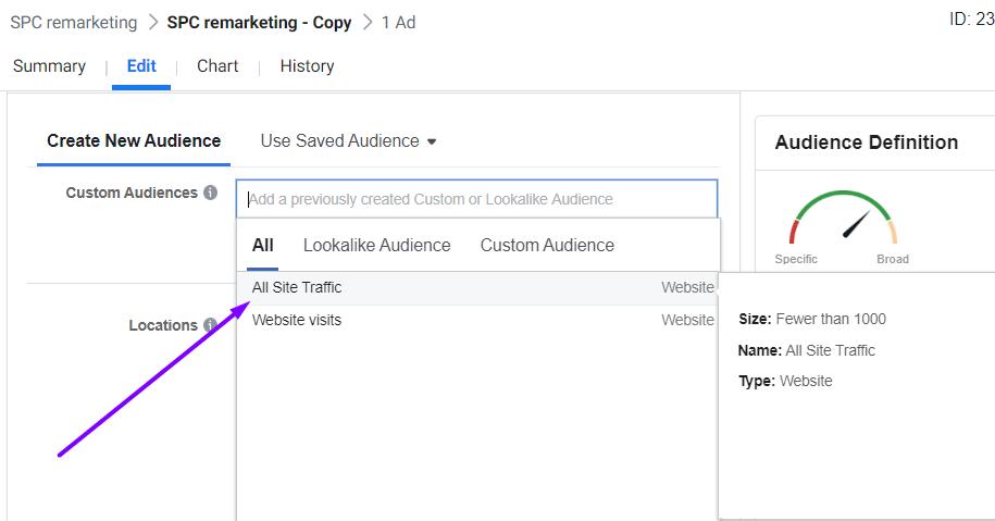 all site traffic remarketing screenshot ad set level