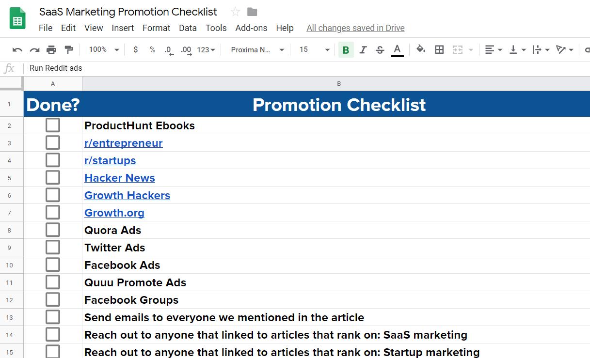 saas marketing checklist