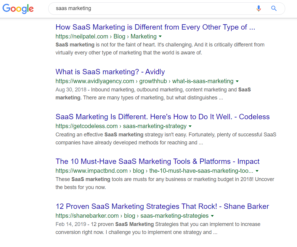 Saas marketing google search results