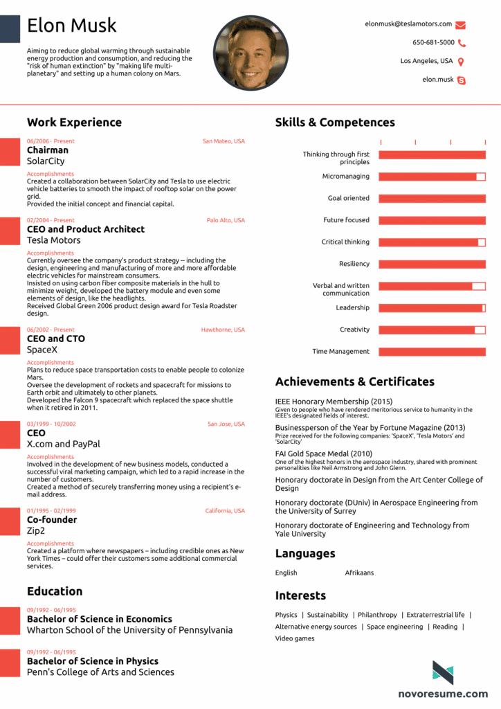 Elon Musk resume