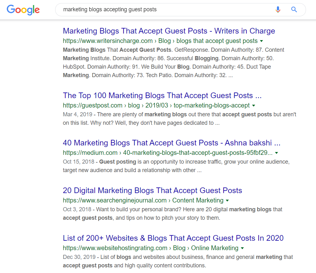marketing blogs accepting guest posts google search results