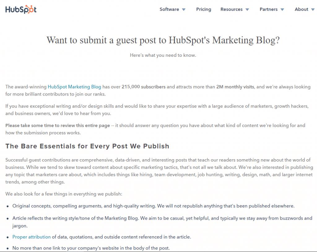 HubSpot Guest Post invite