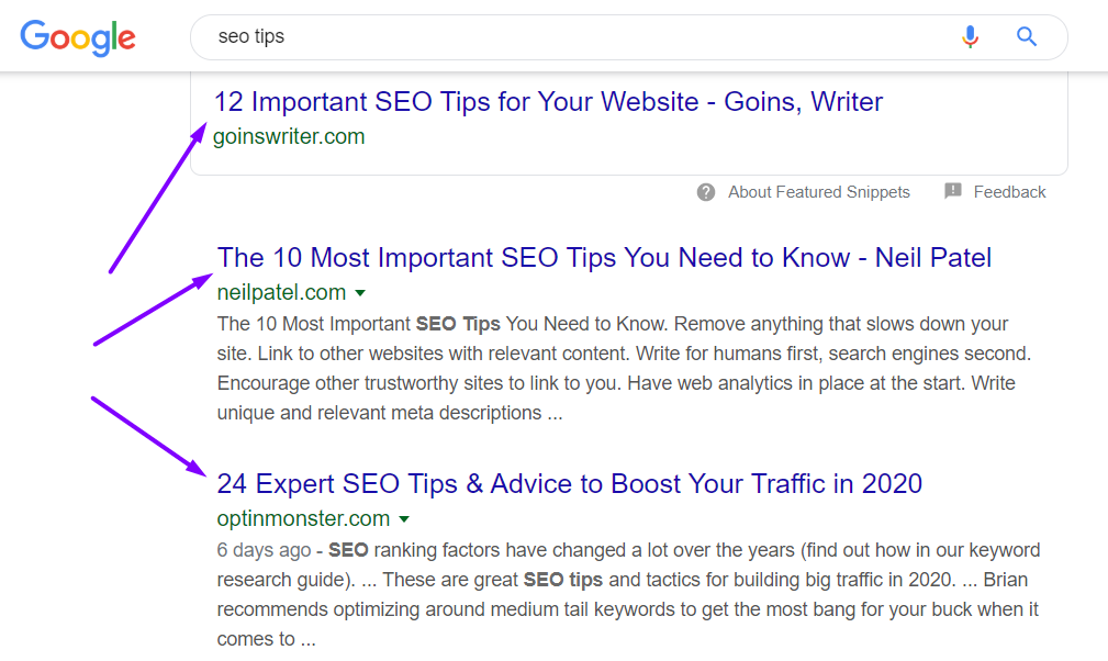 seo tips google search results