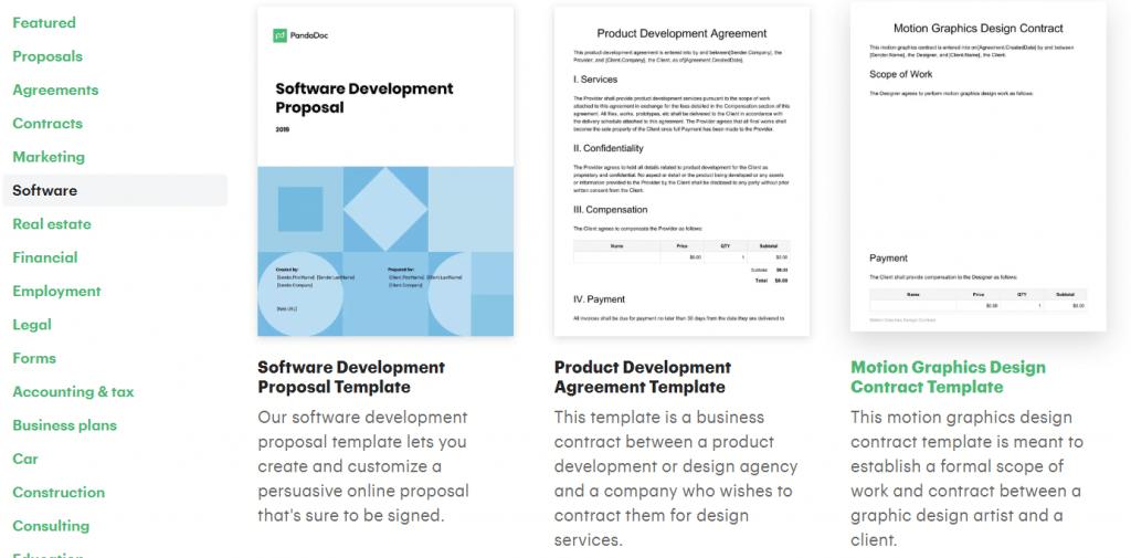 PandaDoc software templates