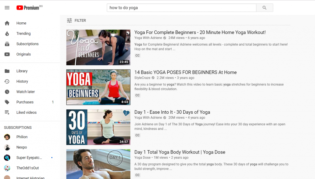 how to do yoga youtube search results