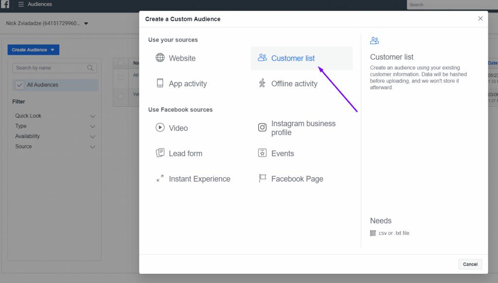 facebook pixel creat a custom audience