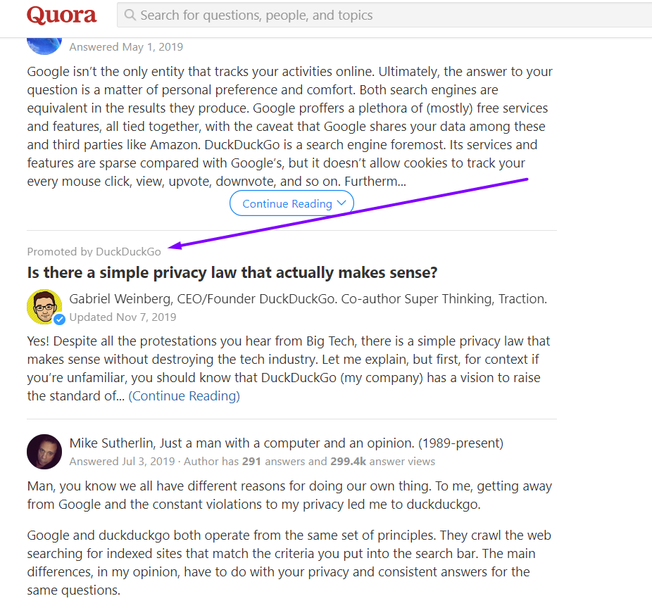 quora privacy law question