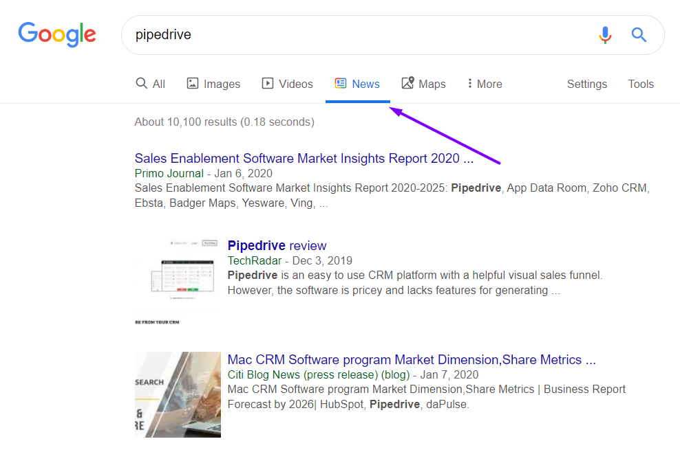 pipedrive google search results