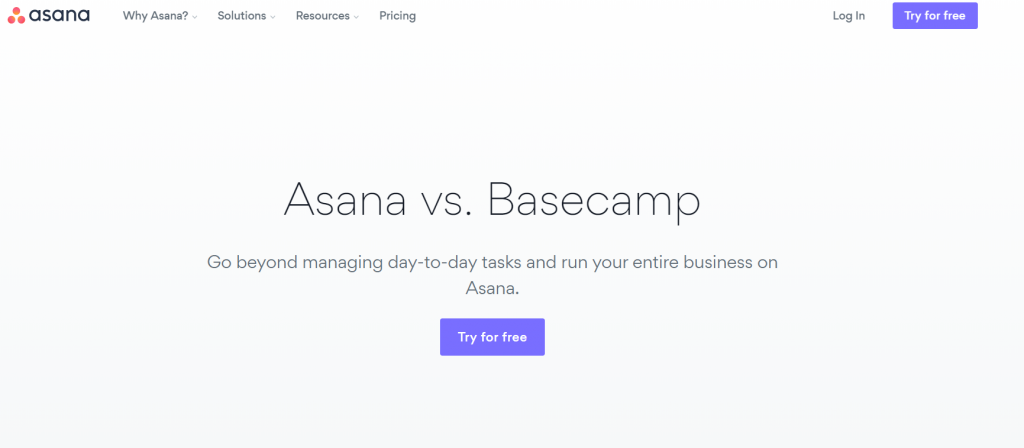 asana vs basecamp landing page